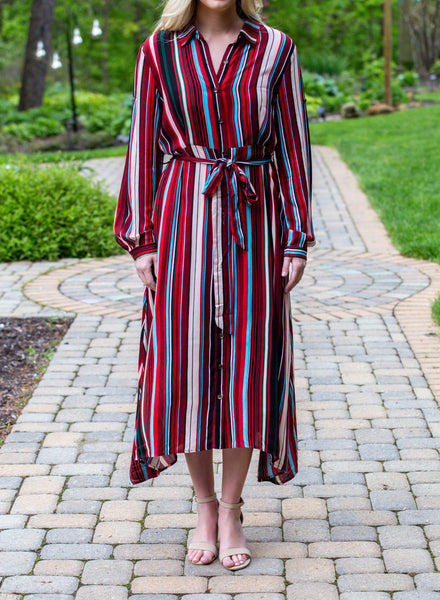 Bold Is In- Stripe Button Down Dress