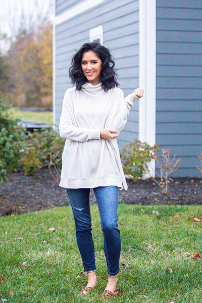 All The Cozies-Cowl Neck Lightweight Sweater Oatmeal