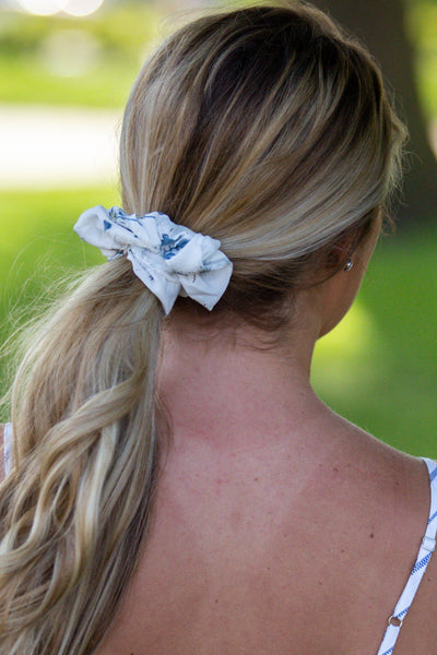 Sweetie- Ivory Floral Scrunchie