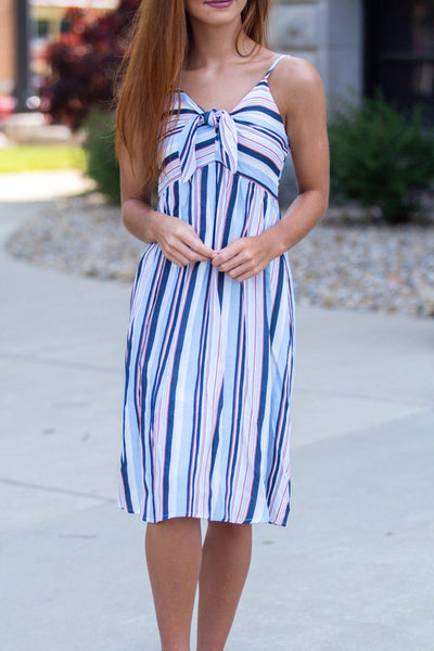 What You Want-Bow Front Midi Striped Dress