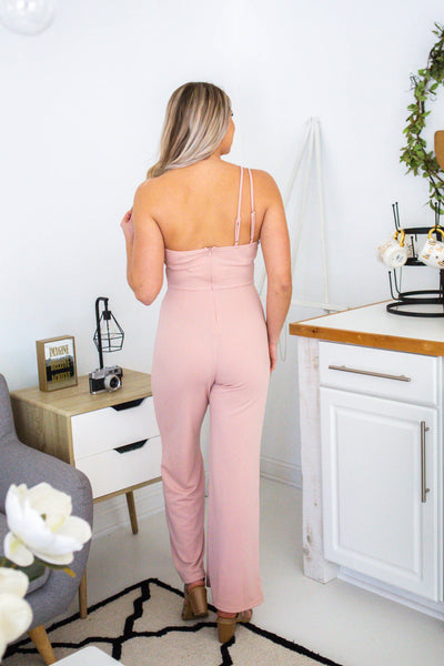 Just Because-One Shoulder Jumpsuit