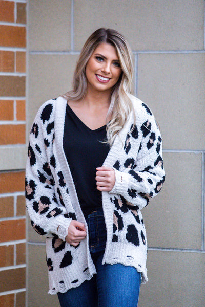 Hear Me Roar-Distressed Cheetah Print Cardigan