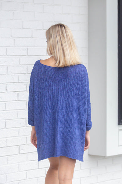 Easy Street-Lightweight Sweater with Folded Cuff Cobalt