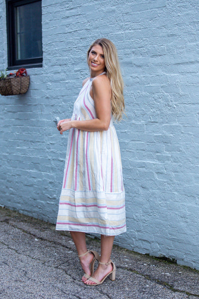 Like A Lady-Striped Halter Dress