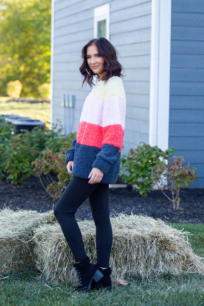 Cozy Days-Color Block Sherpa Sweater