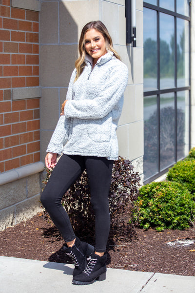 Snuggle Up- Quarter Zip Sherpa Olive