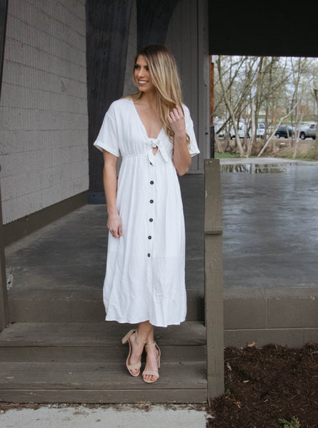 Sweet Soul- Tie Button-Up Dress