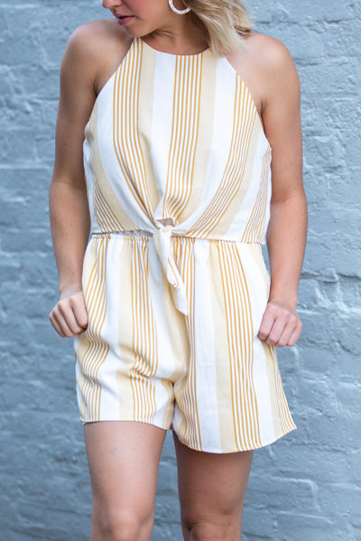 Make My Day-Tie Front Halter Romper