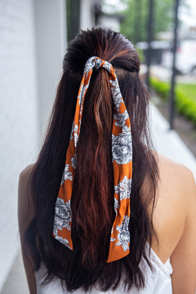 Poppy-Brick Floral Hair Scarf