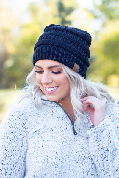 Shimmer- Metallic Black Beanie