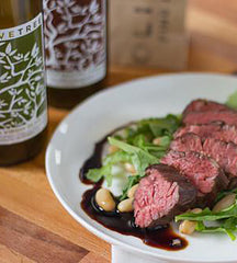 Sweet Onion Hanger Steak with Arugula-White Bean Salad