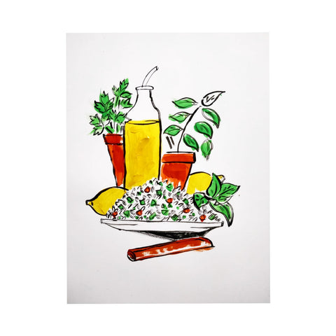 Summer tabbouleh, illustrated by Leigh