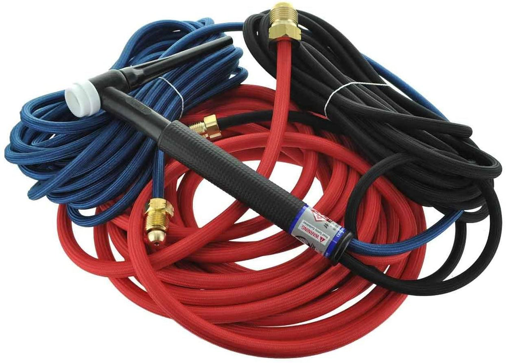 * CK Worldwide | CK TL300 #18 Water Cooled Trim-Line TIG Torch Flex Head 350A, W/ 25ft. Super Flex Cables, 3-Pc