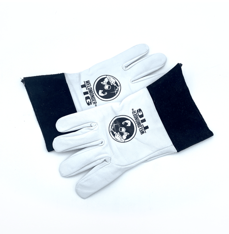 "Weldmonger® TIG Welding Gloves - White/Black 2"" Cuff"