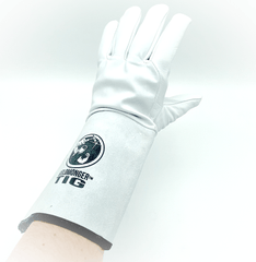 "Weldmonger® TIG Welding Gloves - White/Gray 6"" Cuff"