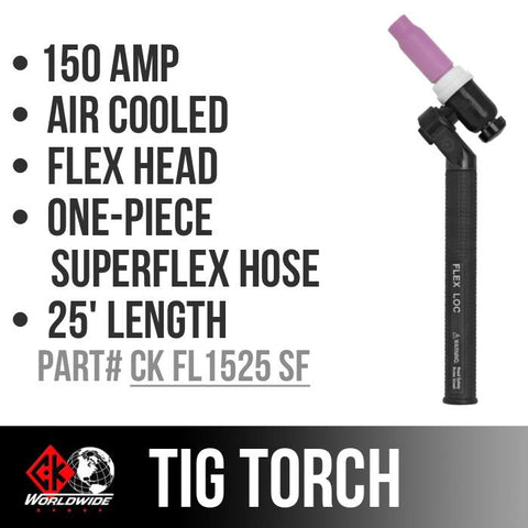 * CK Worldwide | TIG Torch #17 - 3 Series FL150 (Gas Cooled) (CK-FL1525SF) W/ 25ft. Super Flex Cable