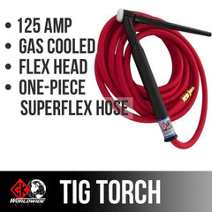 * CK Worldwide | TIG Torch #9 - 2 Series Flex Head (Gas Cooled) (CK9-25-RSF FX) W/ 25 ft. Super Flex Cable