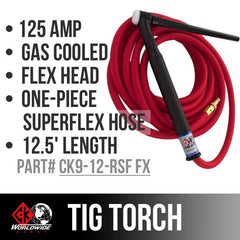 * CK Worldwide | TIG Torch #9  - 2 Series Flex Head (Gas Cooled) (CK9-12-RSF FX) W/ 12.5ft. Super Flex Cable