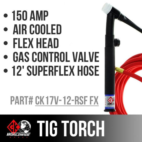 * CK Worldwide | TIG Torch - #17 Style W/ Gas control valve - (CK17V-12-RSF FX)W/ 12.5ft Super Flex cable