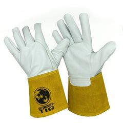 "Weldmonger® TIG Welding Gloves - White/Yellow 3"" Cuff"