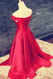 Anneprom Off Shoulder Floor Length Satin Red Prom/Evening Dress With Belt APP0063
