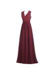 Anneprom A-Line V Neck Open Back Chiffon Long Evening Gown With Lace APB0016