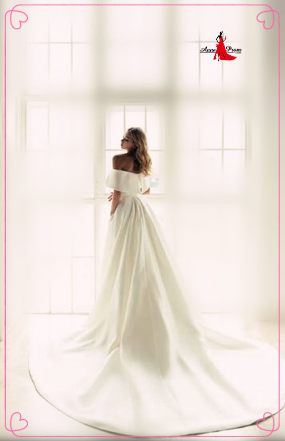 Anneprom Off the Shoulder White Ball Gown Simple Wedding Dress, Satin Bridal Gown APW0332