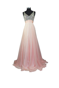 Anneprom A Line V-Neck Formal Chiffon Prom Dress With Beading APB0020