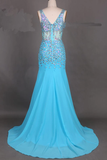 Anneprom Elegant V-Neck Mermaid Court Train Chiffon Prom Dresses With Beading APP0073