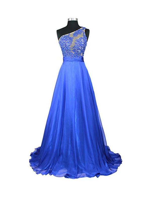 Anneprom A-Line One Shoulder Chiffon Prom/Evening Dresses APB0022