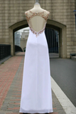 Anneprom Scoop Chiffon Open Back White Long Prom Dress With Crystal APP0017
