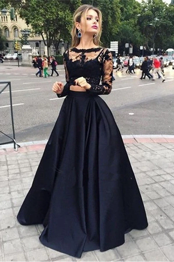 Anneprom Bateau Neck Two Piece Long Sleeves Lace Evening Dress Prom Dresses APP0079
