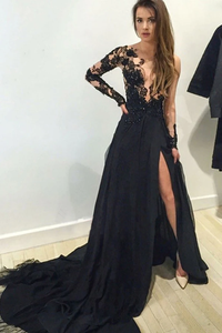 Anneprom A-Line V-Neck Long Sleeves Appliques Black Evening Gowns Prom Dresses APP0080