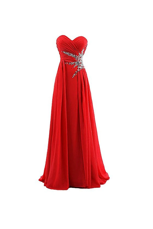 Anneprom A-Line Sweetheart Beading Chiffon Prom Dress Evening Gown APB0024