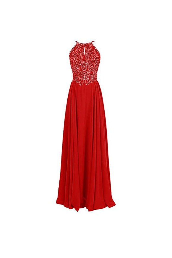 Anneprom Straps Formal Gowns Beading Prom Evening Dresses Backless APB0025