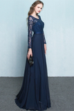 Anneprom Scoop Chiffon Neck Long Sleeves Beading Evening Dress Prom Dress APP0082