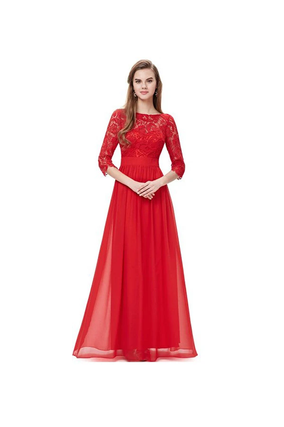Anneprom Lace Long Sleeve Floor Length Evening Dress Prom Dress APB0031