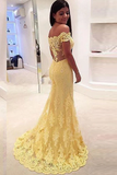 Anneprom Off-The-Shoulder Mermaid Lace Court Train Prom Dresses Evening Dresses APP0088