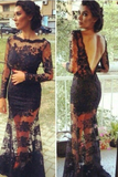 Anneprom Mermaid Lace Long Sleeves Open Back Prom Dresses Evening Gowns APP0089