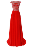 Anneprom Scoop Chiffon Red Long Prom Dress Evening Gowns With Beading APP0019