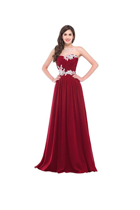 Anneprom Strapless Long Evening Dress With Appliques Prom Dresses APB0035
