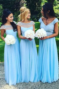 Anneprom Floor-Length Cap Sleeves Open Back Blue Bridesmaid Dress With Beading APB0036