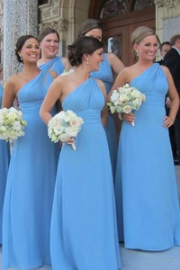 Anneprom One Shoulder Floor Length Sky Blue Bridesmaid Dress APB0037