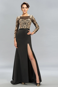Anneprom Mermaid Long Sleeves Lace Split-Front Evening Dresses Prom Dresses APP0099