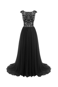 Anneprom Long Beads Prom Dress Tulle Cap Sleeves Evening Dress APP0020