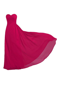 Anneprom Pink Strapless Long Bridesmaid Dresses Chiffon Wedding Prom Gown APB0043