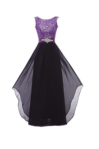 Anneprom Round Neck Lace Sleeveless Long Prom Evening Dresses Bridesmaid Dress APB0044