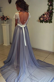 Anneprom Scoop Neckline Cap Sleeves Chiffon Prom Dress With Lace Backless APP0107