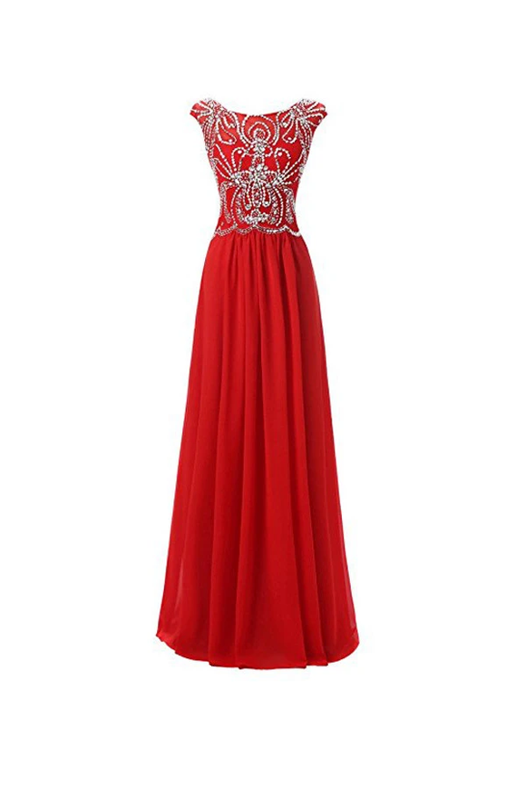 Anneprom Floor Length Bridesmaid Dress Cap Sleeves Chiffon Prom Evening Gown APB0046