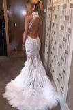 Anneprom Halter Neck Feather Mermaid Appliques Prom Dress With Court Train APP0111